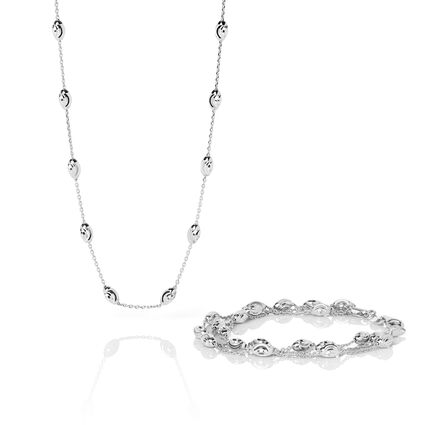 Essentials Sterling Silver Beaded Chain 3 Row Bracelet & Beaded 60cm Necklace Set, , hires