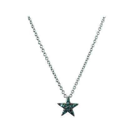 Diamond Essentials Sterling Silver & Blue Pave Star Necklace, , hires