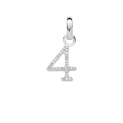 Sterling Silver & Diamond Number 4 Charm, , hires