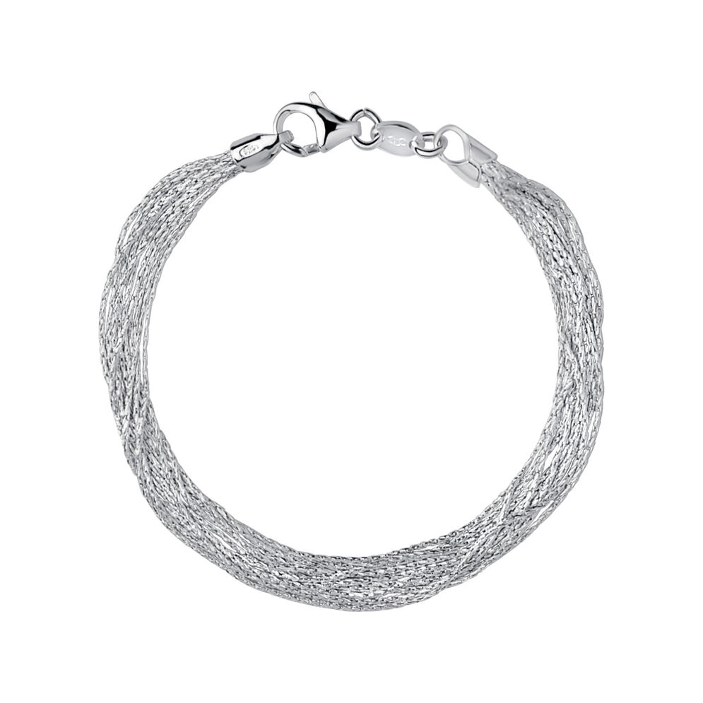 Essentials Sterling Silver Silk 10 Row Bracelet, , hires
