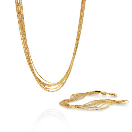 Essentials 18kt Yellow Gold Vermeil Silk 10 Row Bracelet and 45cm Necklace Set, , hires