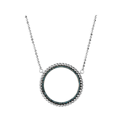 Effervescence Sterling Silver & Blue Diamond Halo Necklace, , hires