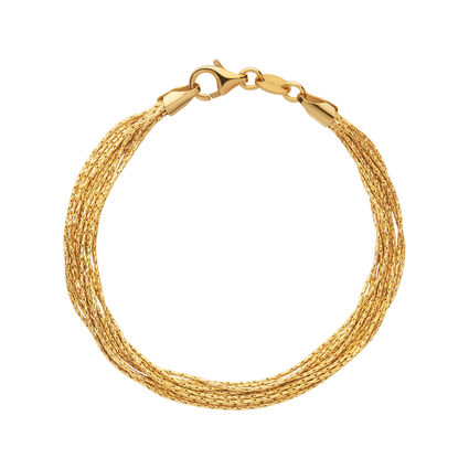 Essentials 18kt Yellow Gold Vermeil Silk 10 Row Bracelet, , hires