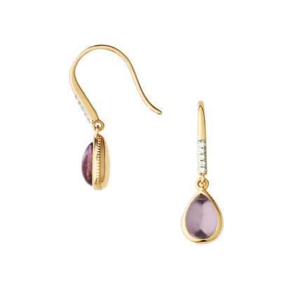 Luna Gems 18kt Yellow Gold, Amethyst & Diamond Drop Earrings, , hires