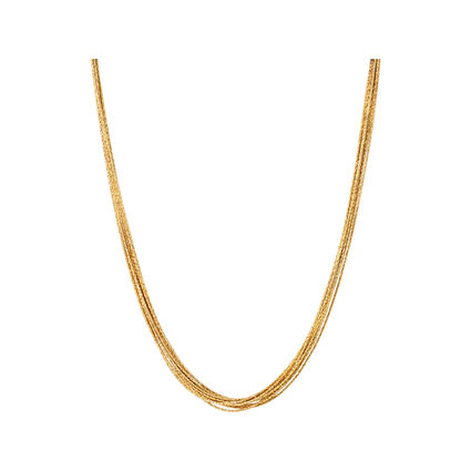 Essentials 18kt Yellow Gold Vermeil Silk 10 Row Necklace 45cm, , hires