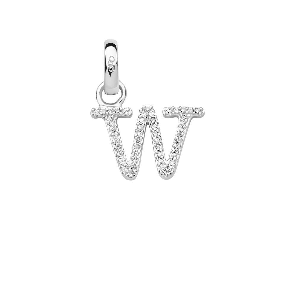 Sterling Silver & Diamond W Alphabet Charm, , hires