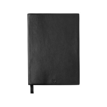 Black Leather A5 Notebook, , hires