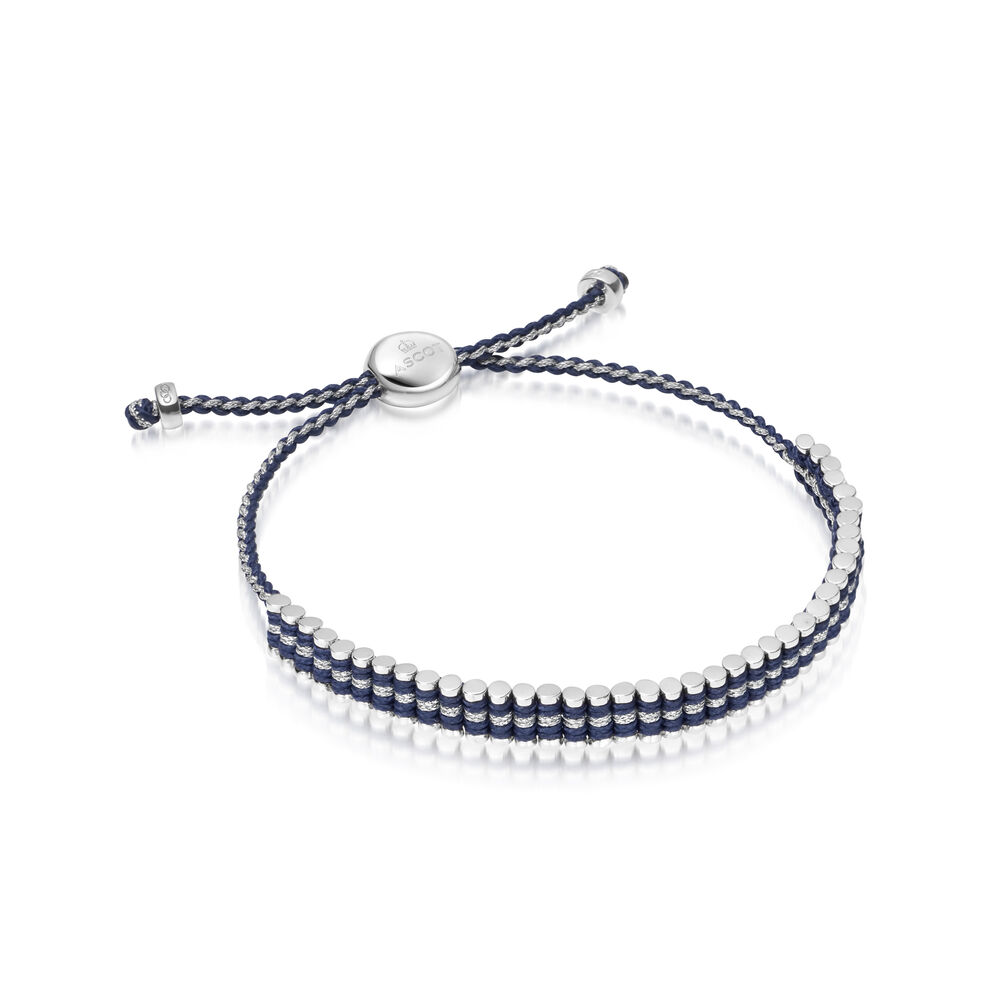 Ascot Sterling Silver & Blue Cord Mini Friendship Bracelet, , hires