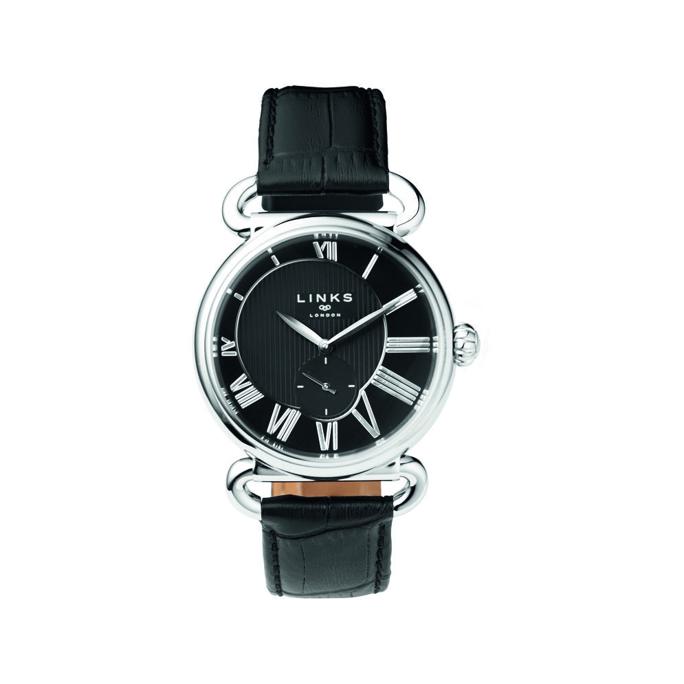 Driver British Pin Stripe Stainless Steel & Black Leather Watch, , hires