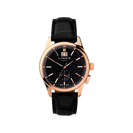 Regent Mens Black Dial Rose Gold Plate Black Leather Watch, , hires