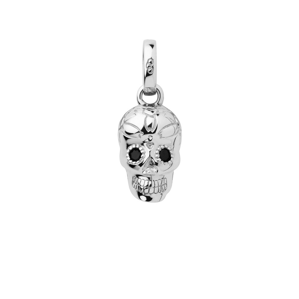 Sterling Silver & Black Spinel Halloween Skull Charm, , hires