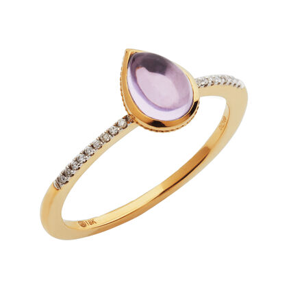 Luna Gems 18kt Yellow Gold, Amethyst & Diamond Ring, , hires