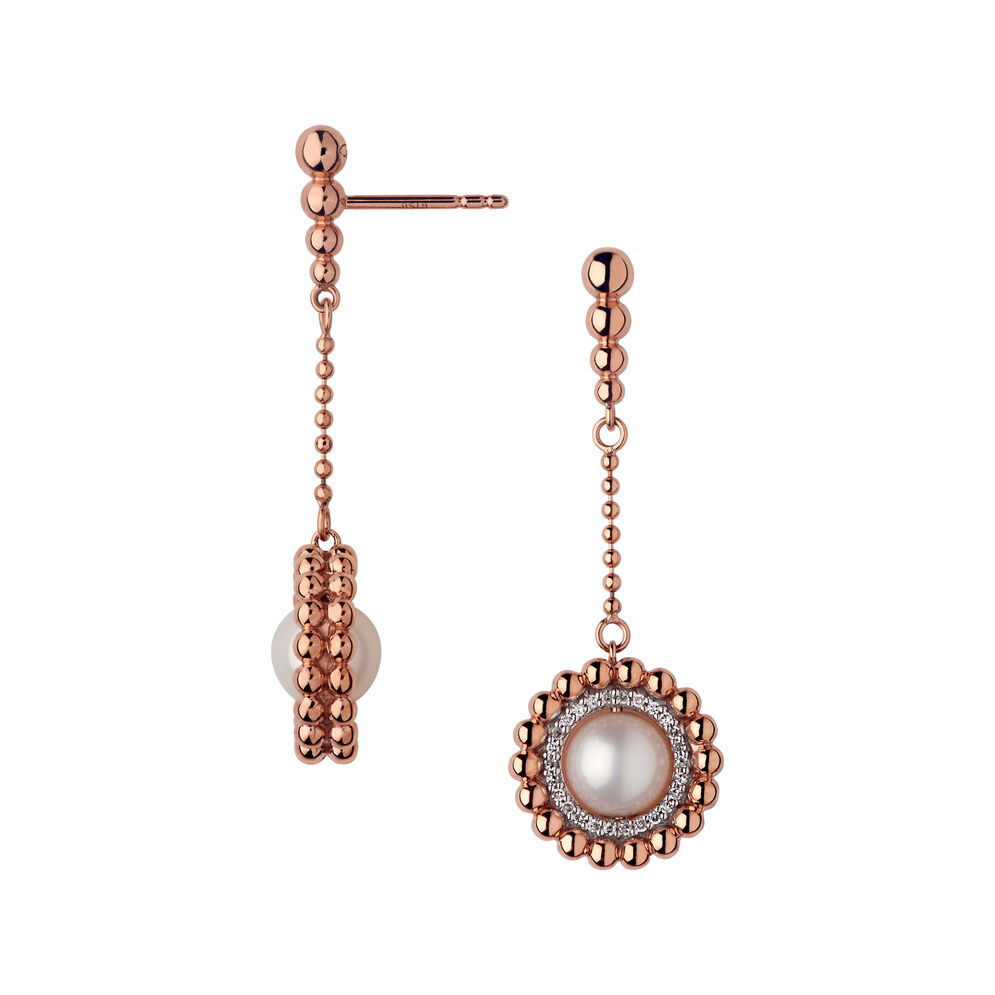 Effervescence 18kt Rose Gold, Diamond & Pearl Drop Earrings, , hires