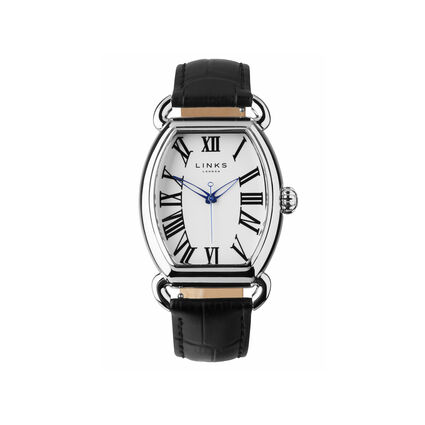 Driver Ellipse Stainless Steel Plate Black Leather Watch, , hires