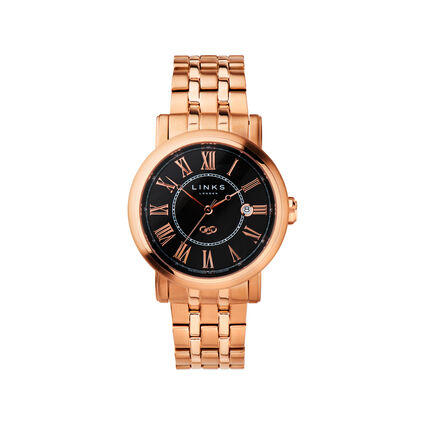 Richmond Mens Rose Gold Plate Black Dial Bracelet Watch, , hires