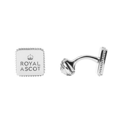Royal Ascot Sterling Silver Royal Logo Square Cufflinks, , hires
