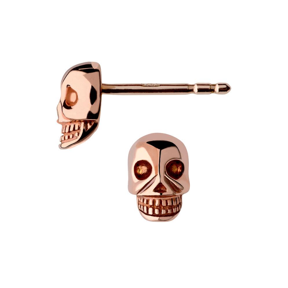 18kt Rose Gold Vermeil Mini Skull Stud Earrings, , hires