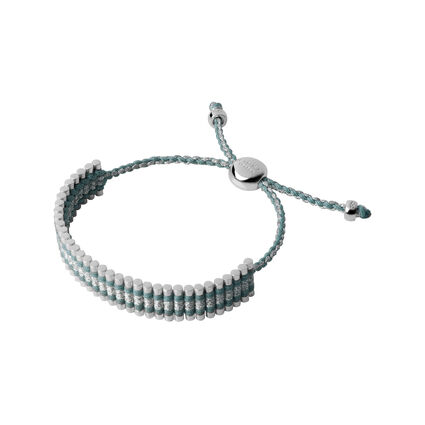 Sterling Silver, Mint Green & Grey Glitter Friendship Bracelet, , hires