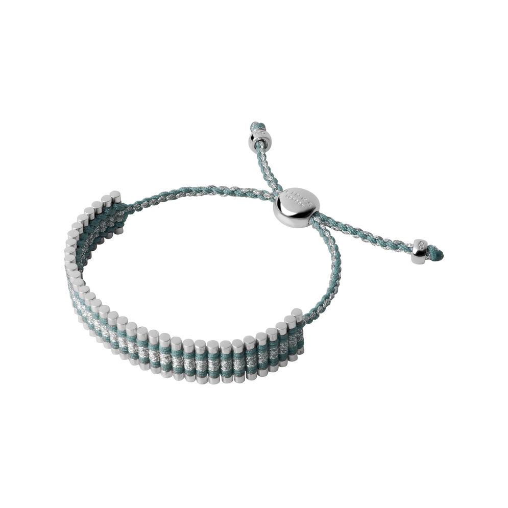 Sterling Silver, Mint Green & Grey Glitter Friendship Bracelet, , hires