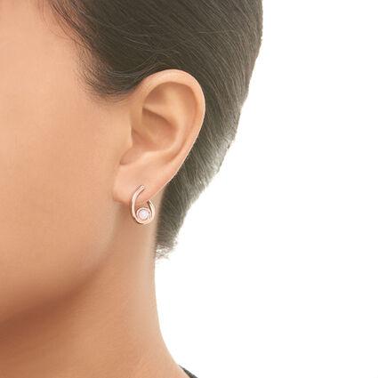 Serpentine 18kt Rose Gold Vermeil & Blue Lace Agate Gemstone Hoop Earrings, , hires