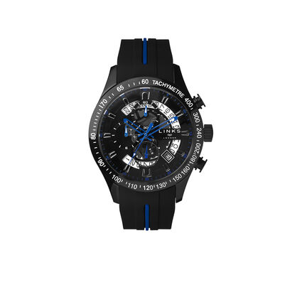 Skeleton Blue & Black Rubber Strap Chronograph Watch, , hires