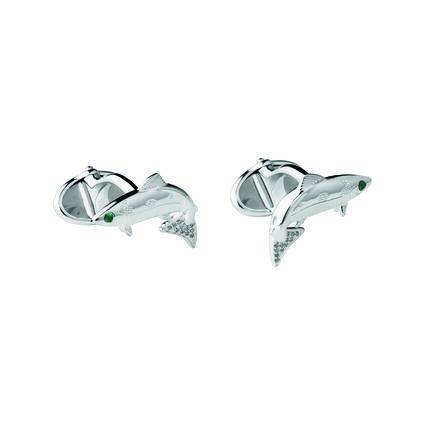 25 Years Sterling Silver, White Diamond & Tsavorite Cufflinks, , hires