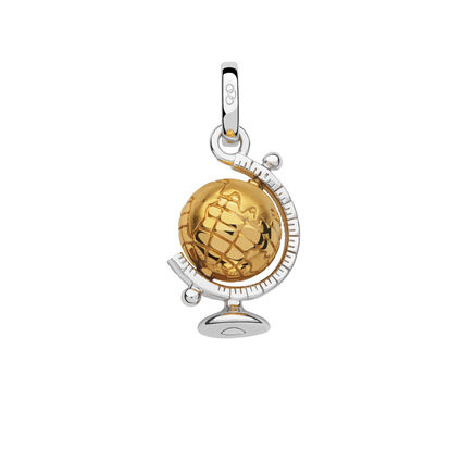 Sterling Silver & 18kt Yellow Gold Vermeil Globe Charm, , hires