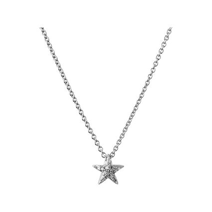 Diamond Essentials Sterling Silver & White Pave Star Necklace, , hires
