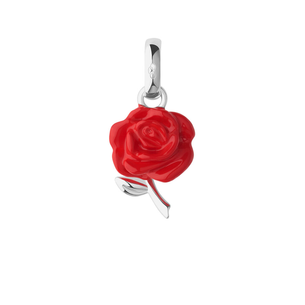 Sterling Silver & Red Enamel Rose Valentine Charm, , hires