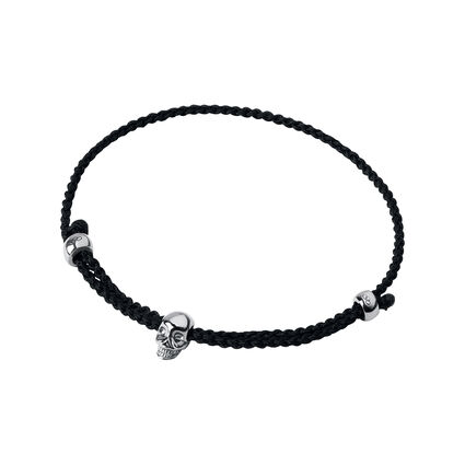 Oxidised Sterling Silver & Black Cord Mini Skull Bracelet, , hires