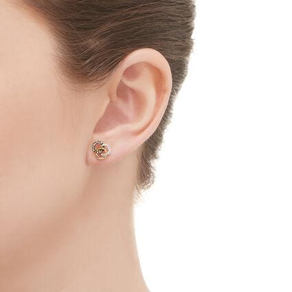 Treasured 18kt Yellow Gold Vermeil, Champagne & White Diamond Stud Earrings, , hires