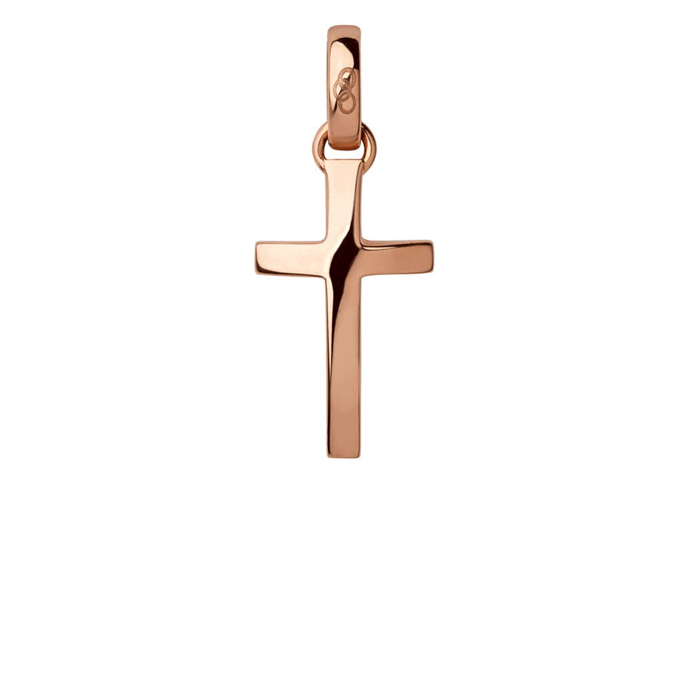 18kt Rose Gold Cross Charm, , hires