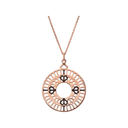 Rose gold necklaces links of london timeless 18kt rose gold vermeil amp black sapphire long pendant necklace mozeypictures Choice Image