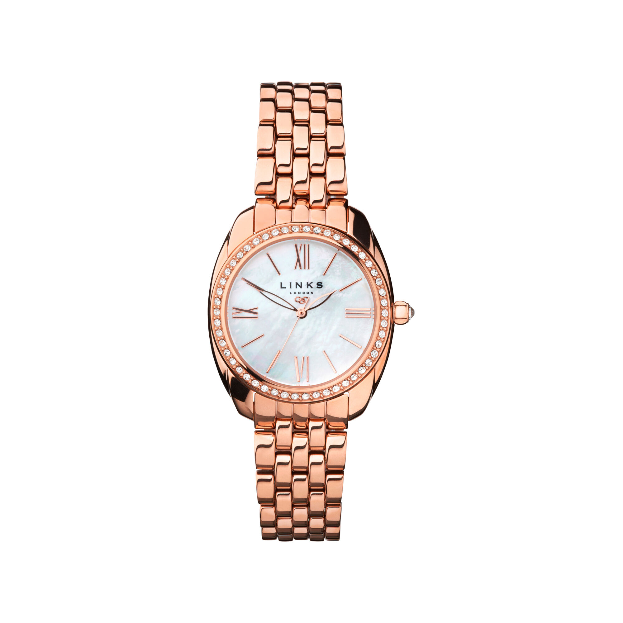 loading watches image ladies bezel rose itm goldtone crystal strap bracelet swarovski eternity watch is