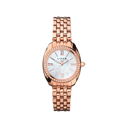 Bloomsbury Womens Oval Rose Gold Plate & Crystal Bracelet Watch, , hires