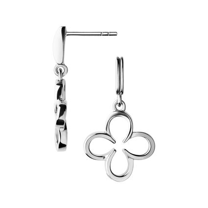 Ascot Sterling Silver Clover Earrings, , hires