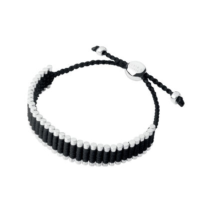 Sterling Silver & Black Cord Friendship Bracelet, , hires