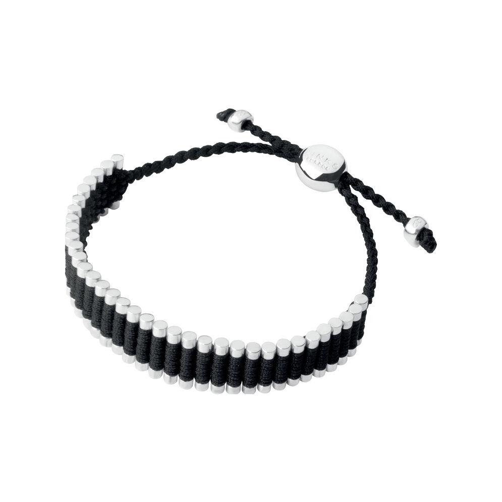 Sterling Silver & Black Cord Friendship Bracelet, , hires