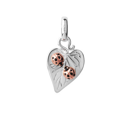 Sterling Silver & 18kt Rose Gold Vermeil Love Bugs Valentine Charm, , hires