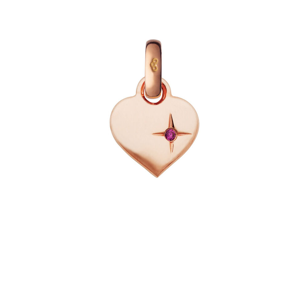 Keepsakes 18kt Rose Gold Mini Pink Sparkle Heart Charm, , hires