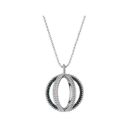 Effervescence Sterling Silver & Blue Diamond Globe Necklace, , hires