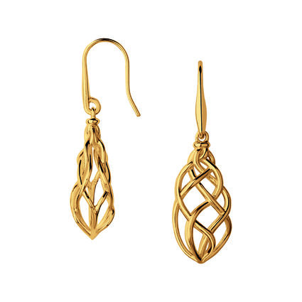 18K Yellow Gold Vermeil Woven Drop Earrings, , hires