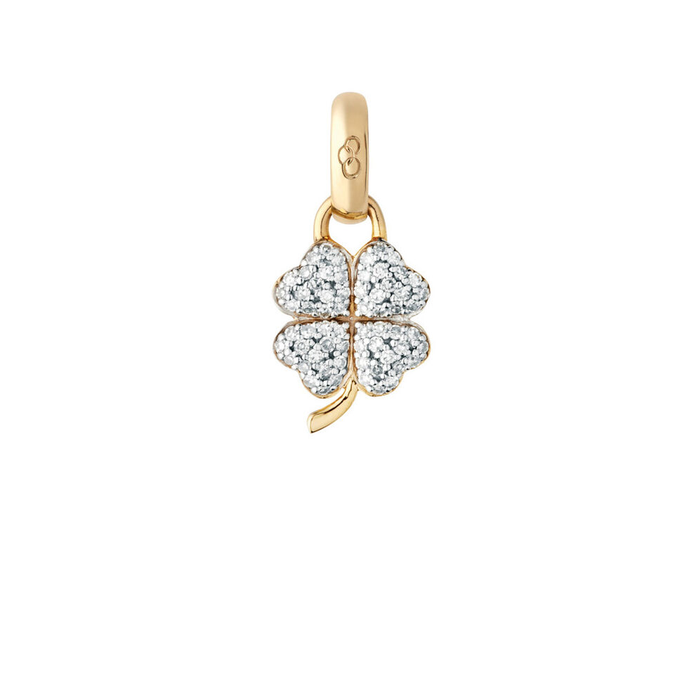 18kt Yellow Gold & Diamond Four Leaf Clover Charm, , hires