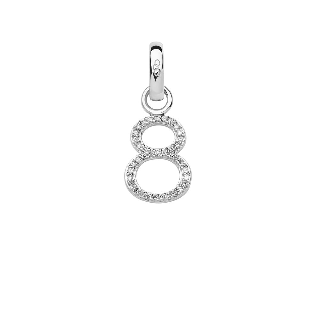 Sterling Silver & Diamond Number 8 Charm, , hires