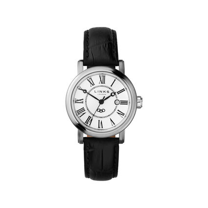 Richmond Womens Stainless Steel & Black Leather Watch, , hires