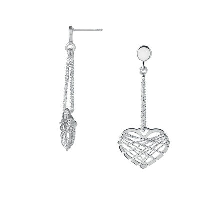 Dream Catcher Sterling Silver Heart Drop Earrings, , hires