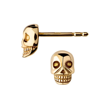 Yellow Gold Vermeil Mini Skull Stud Earrings, , hires