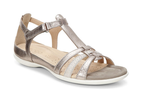 ECCO Flash T-Strap Sandal (WARM GREY METALLIC/MOON ROCK)