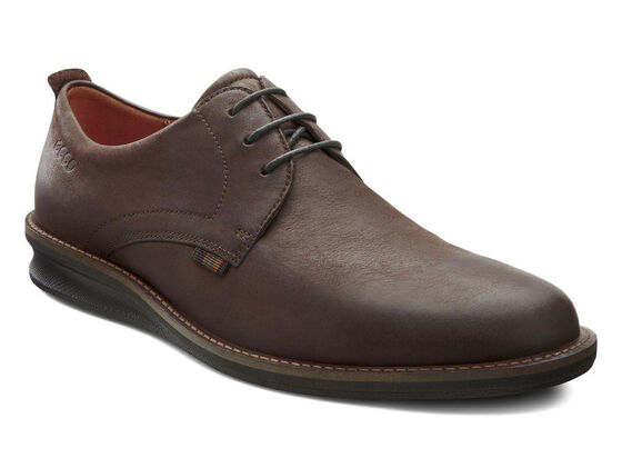 ECCO Contoured Plain Toe Tie (COFFEE)