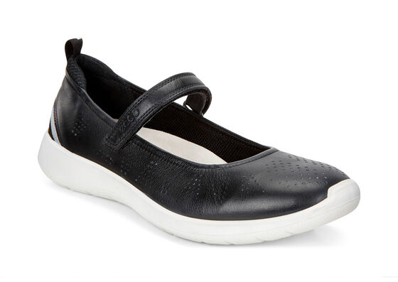 ECCO Soft 5 Mary Jane (BLACK/BLACK-CONCRETE/SILVER MET.)